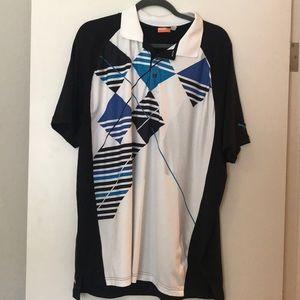 Puma black and blue pattern golf shirt XL